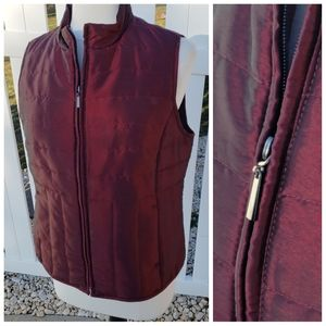 Relativity solid burgundy metallic puffer zip vest